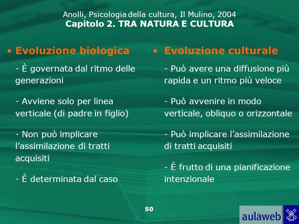 50 Evoluzione biologica - È governata dal ritmo delle generazioni - Avviene solo per linea verticale (di padre in figlio) - Non può implicare lassimil