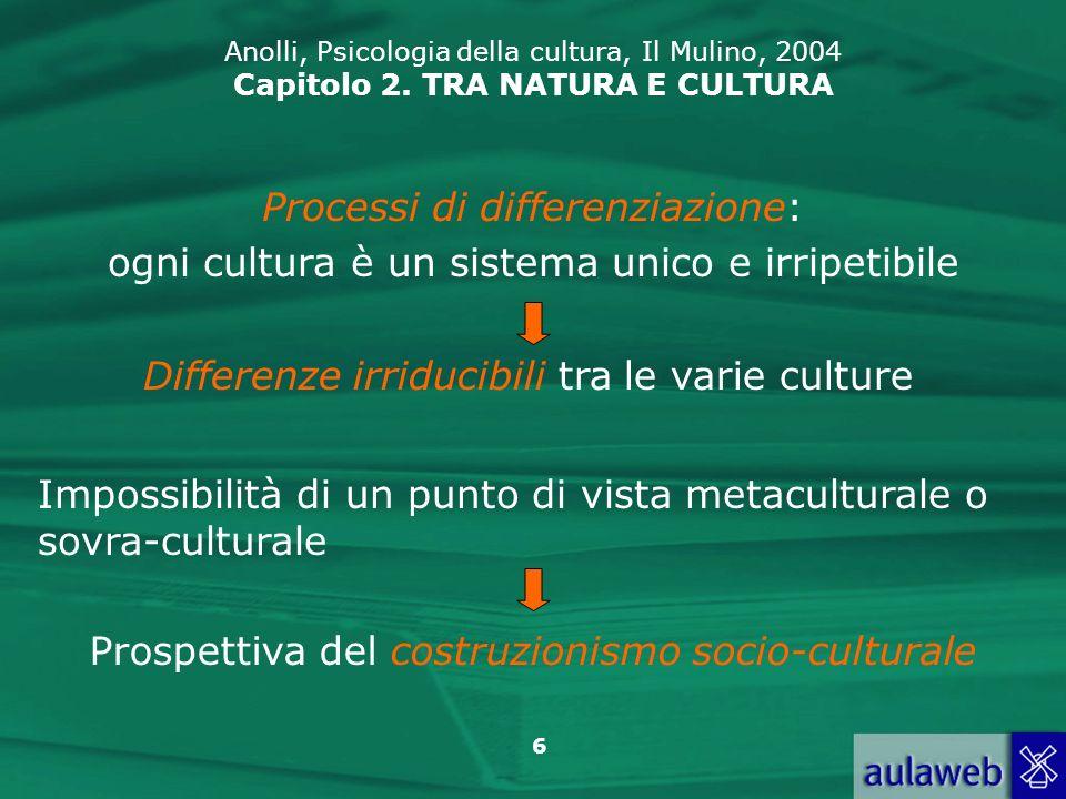 6 Anolli, Psicologia della cultura, Il Mulino, 2004 Capitolo 2. TRA NATURA E CULTURA Processi di differenziazione: ogni cultura è un sistema unico e i