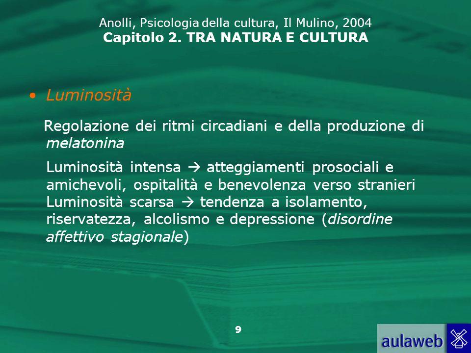 9 Anolli, Psicologia della cultura, Il Mulino, 2004 Capitolo 2. TRA NATURA E CULTURA Luminosità Regolazione dei ritmi circadiani e della produzione di