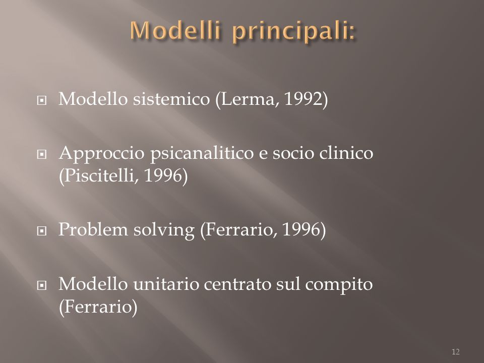 Modello sistemico (Lerma, 1992) Approccio psicanalitico e socio clinico (Piscitelli, 1996) Problem solving (Ferrario, 1996) Modello unitario centrato