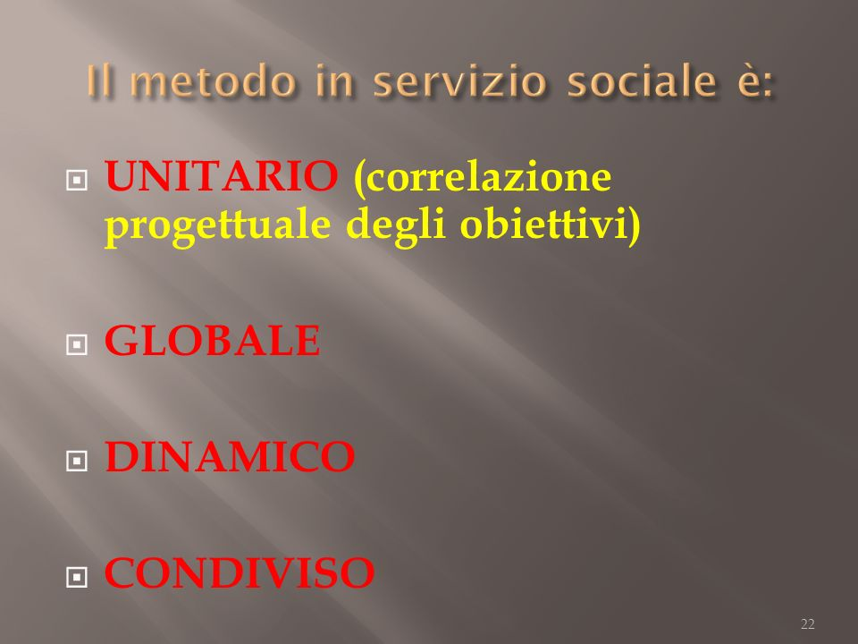 UNITARIO (correlazione progettuale degli obiettivi) GLOBALE DINAMICO CONDIVISO 22