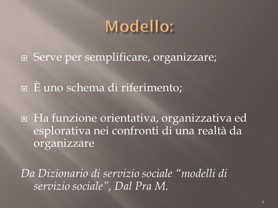 Serve per semplificare, organizzare; È uno schema di riferimento; Ha funzione orientativa, organizzativa ed esplorativa nei confronti di una realtà da