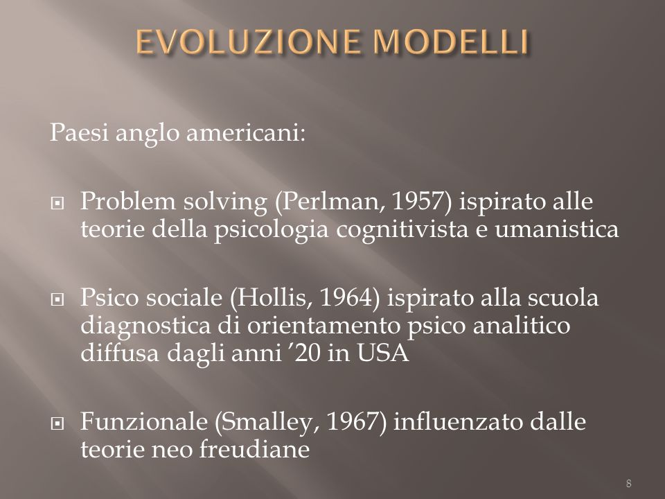 Paesi anglo americani: Problem solving (Perlman, 1957) ispirato alle teorie della psicologia cognitivista e umanistica Psico sociale (Hollis, 1964) is