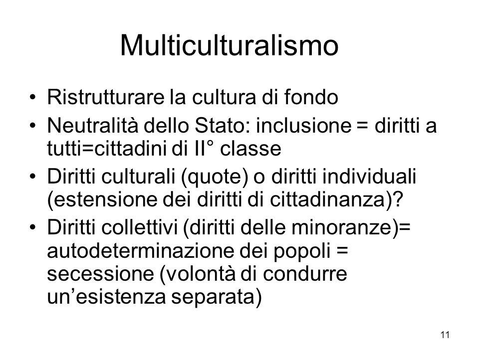 11 Multiculturalismo Ristrutturare la cultura di fondo Neutralità dello Stato: inclusione = diritti a tutti=cittadini di II° classe Diritti culturali (quote) o diritti individuali (estensione dei diritti di cittadinanza).