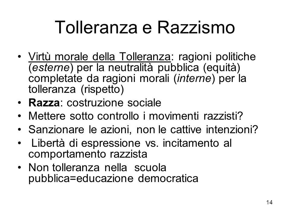 14 Tolleranza e Razzismo Virtù morale della Tolleranza: ragioni politiche (esterne) per la neutralità pubblica (equità) completate da ragioni morali (