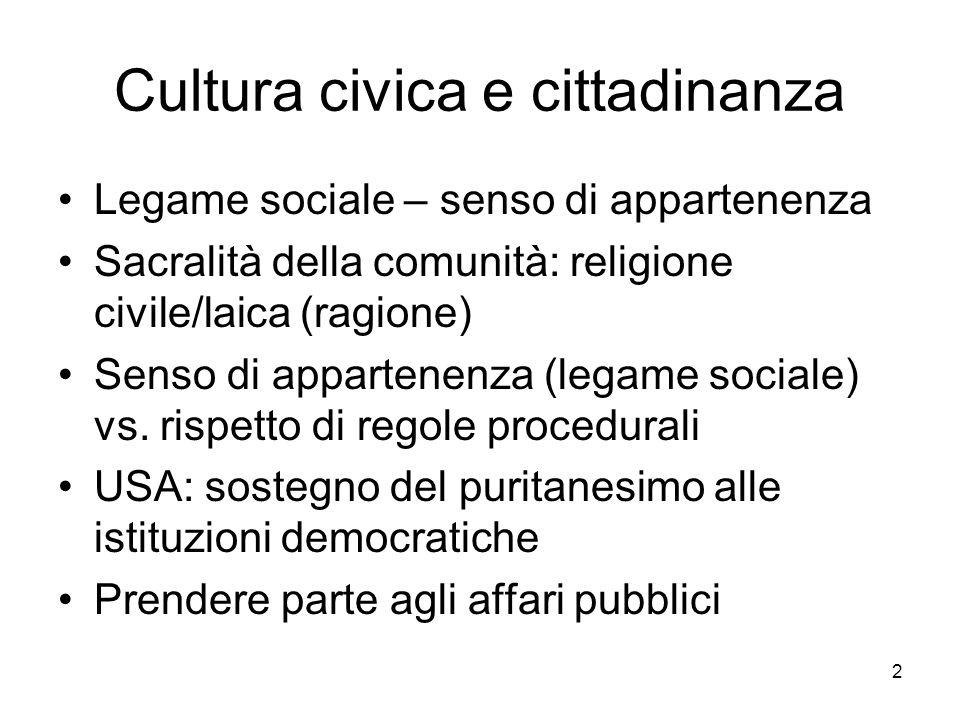 2 Cultura civica e cittadinanza Legame sociale – senso di appartenenza Sacralità della comunità: religione civile/laica (ragione) Senso di appartenenza (legame sociale) vs.