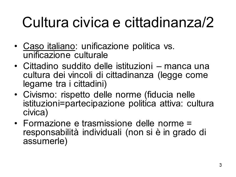 3 Cultura civica e cittadinanza/2 Caso italiano: unificazione politica vs. unificazione culturale Cittadino suddito delle istituzioni – manca una cult