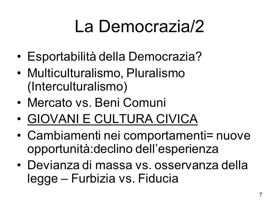 7 La Democrazia/2 Esportabilità della Democrazia? Multiculturalismo, Pluralismo (Interculturalismo) Mercato vs. Beni Comuni GIOVANI E CULTURA CIVICA C