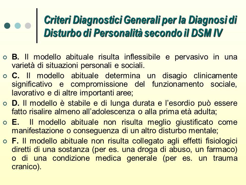 Criteri Diagnostici Generali per la Diagnosi di Disturbo di Personalità secondo il DSM IV B. Il modello abituale risulta inflessibile e pervasivo in u