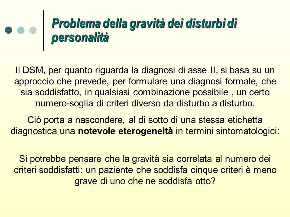Il DSM, per quanto riguarda la diagnosi di asse II, si basa su un approccio che prevede, per formulare una diagnosi formale, che sia soddisfatto, in q