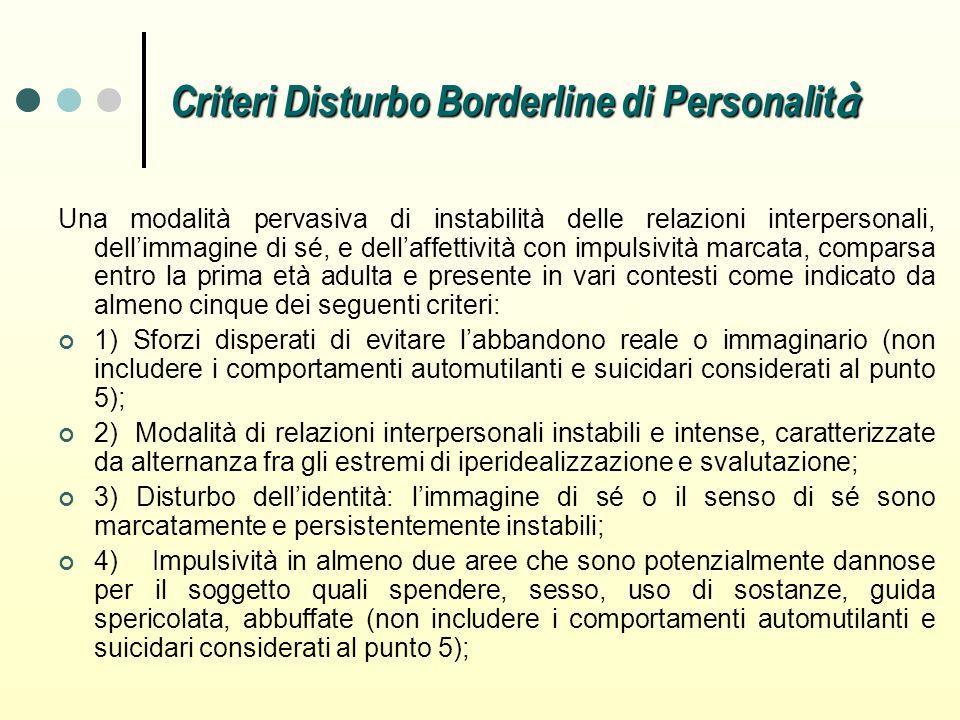 Criteri Disturbo Borderline di Personalit à Una modalità pervasiva di instabilità delle relazioni interpersonali, dellimmagine di sé, e dellaffettivit