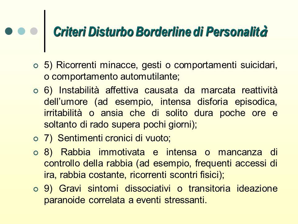 Criteri Disturbo Borderline di Personalit à 5) Ricorrenti minacce, gesti o comportamenti suicidari, o comportamento automutilante; 6) Instabilità affe