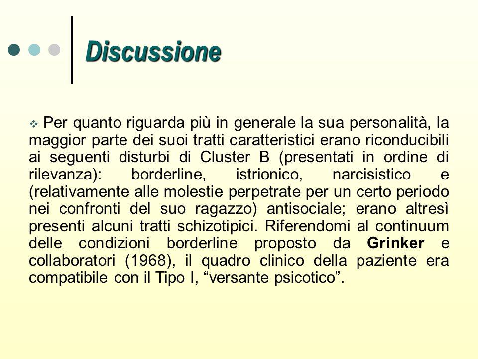 Discussione Per quanto riguarda più in generale la sua personalità, la maggior parte dei suoi tratti caratteristici erano riconducibili ai seguenti di