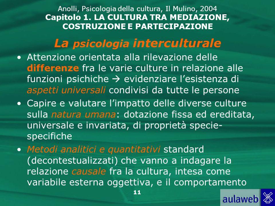 11 Anolli, Psicologia della cultura, Il Mulino, 2004 Capitolo 1.