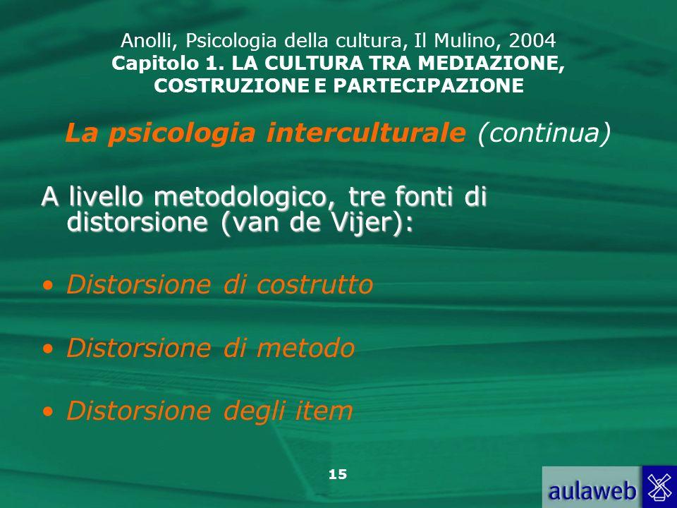15 Anolli, Psicologia della cultura, Il Mulino, 2004 Capitolo 1. LA CULTURA TRA MEDIAZIONE, COSTRUZIONE E PARTECIPAZIONE La psicologia interculturale