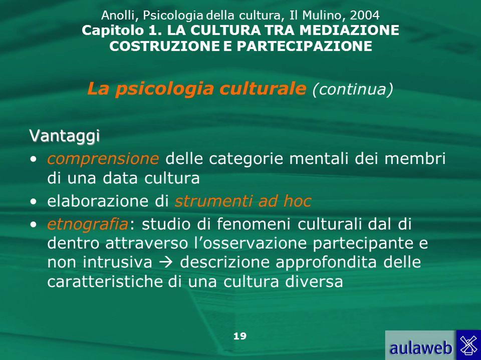19 Anolli, Psicologia della cultura, Il Mulino, 2004 Capitolo 1. LA CULTURA TRA MEDIAZIONE COSTRUZIONE E PARTECIPAZIONE La psicologia culturale (conti