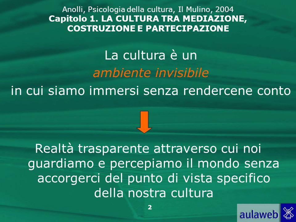 2 Anolli, Psicologia della cultura, Il Mulino, 2004 Capitolo 1. LA CULTURA TRA MEDIAZIONE, COSTRUZIONE E PARTECIPAZIONE La cultura è un ambiente invis