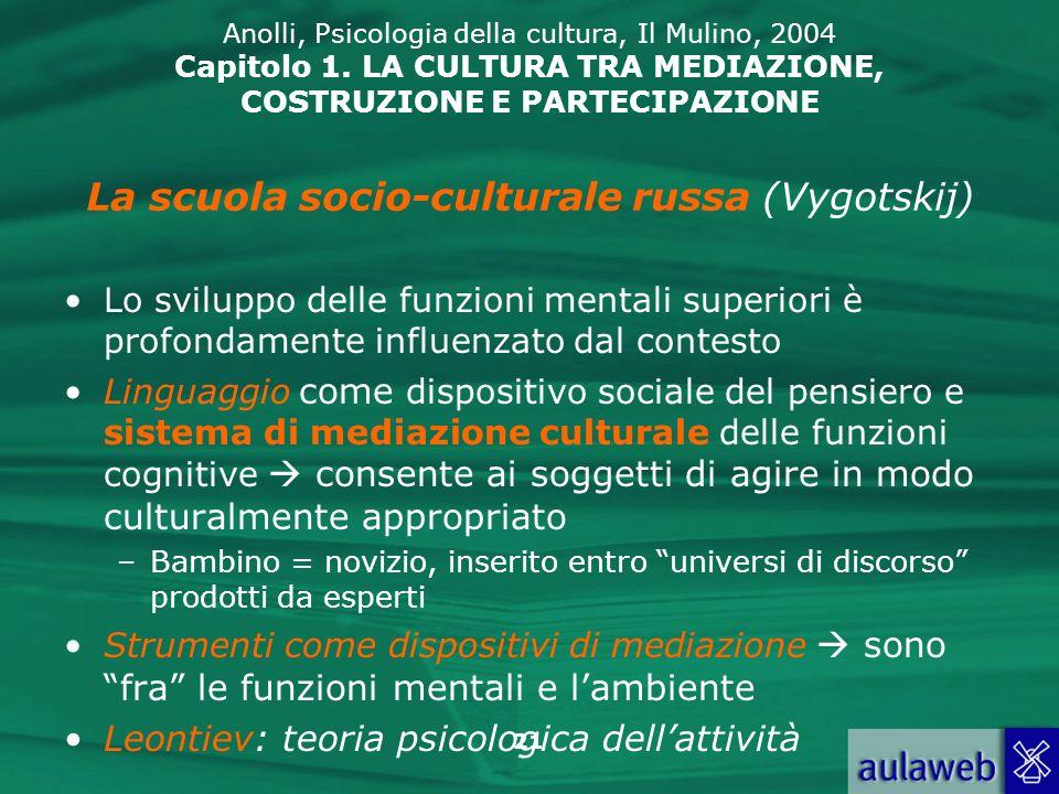 21 Anolli, Psicologia della cultura, Il Mulino, 2004 Capitolo 1. LA CULTURA TRA MEDIAZIONE, COSTRUZIONE E PARTECIPAZIONE Lo sviluppo delle funzioni me