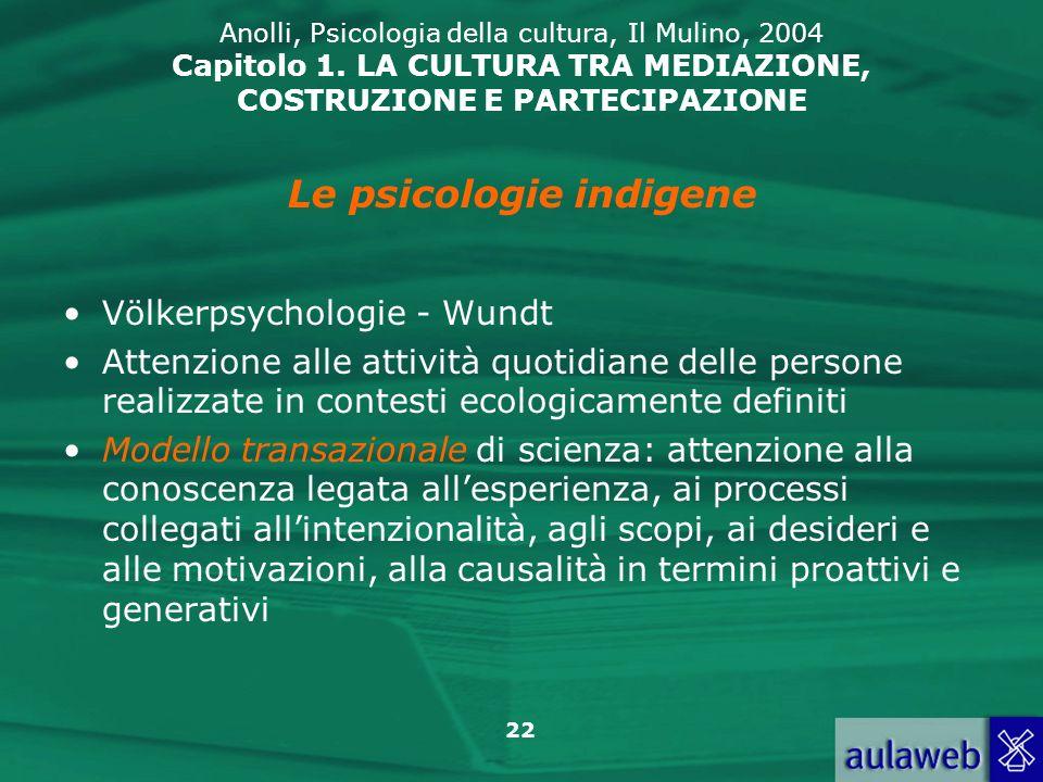22 Anolli, Psicologia della cultura, Il Mulino, 2004 Capitolo 1. LA CULTURA TRA MEDIAZIONE, COSTRUZIONE E PARTECIPAZIONE Völkerpsychologie - Wundt Att