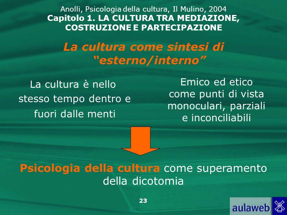 23 Anolli, Psicologia della cultura, Il Mulino, 2004 Capitolo 1. LA CULTURA TRA MEDIAZIONE, COSTRUZIONE E PARTECIPAZIONE La cultura è nello stesso tem