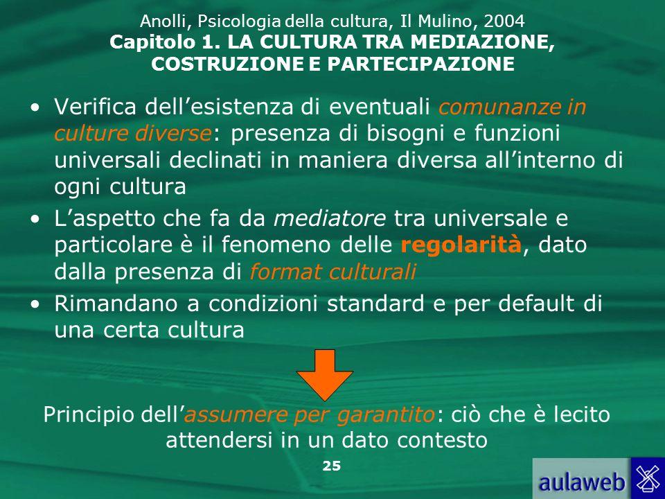 25 Anolli, Psicologia della cultura, Il Mulino, 2004 Capitolo 1. LA CULTURA TRA MEDIAZIONE, COSTRUZIONE E PARTECIPAZIONE Verifica dellesistenza di eve
