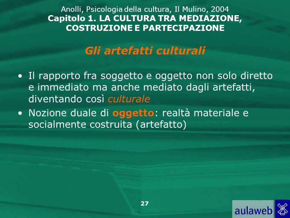 27 Anolli, Psicologia della cultura, Il Mulino, 2004 Capitolo 1. LA CULTURA TRA MEDIAZIONE, COSTRUZIONE E PARTECIPAZIONE Il rapporto fra soggetto e og