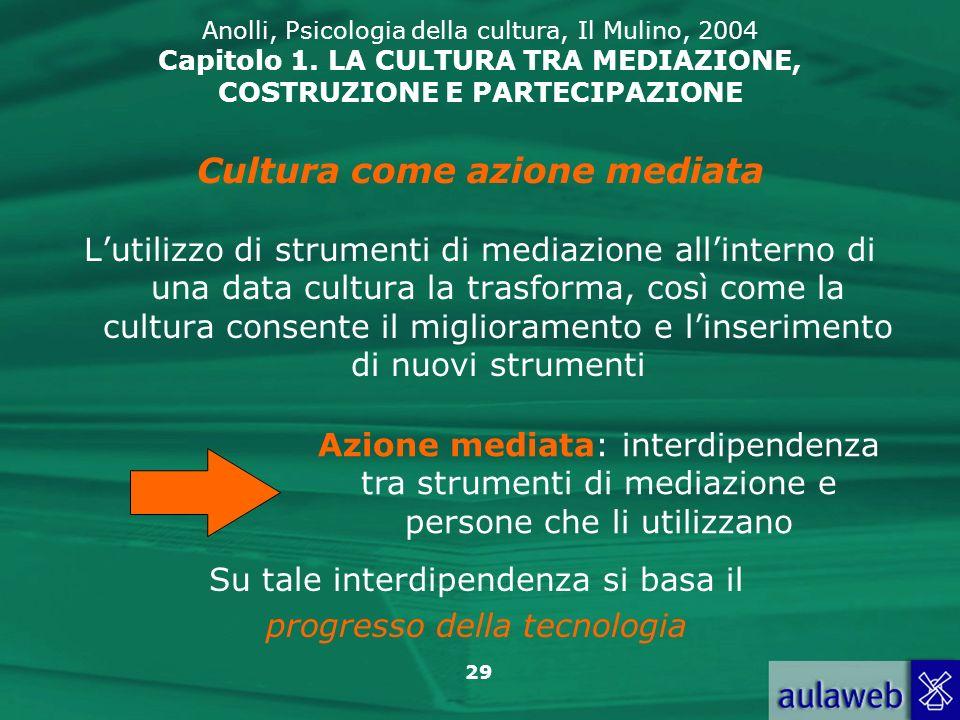 29 Anolli, Psicologia della cultura, Il Mulino, 2004 Capitolo 1. LA CULTURA TRA MEDIAZIONE, COSTRUZIONE E PARTECIPAZIONE Lutilizzo di strumenti di med