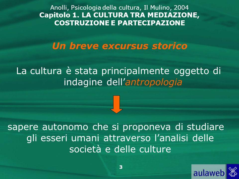 3 Anolli, Psicologia della cultura, Il Mulino, 2004 Capitolo 1. LA CULTURA TRA MEDIAZIONE, COSTRUZIONE E PARTECIPAZIONE La cultura è stata principalme