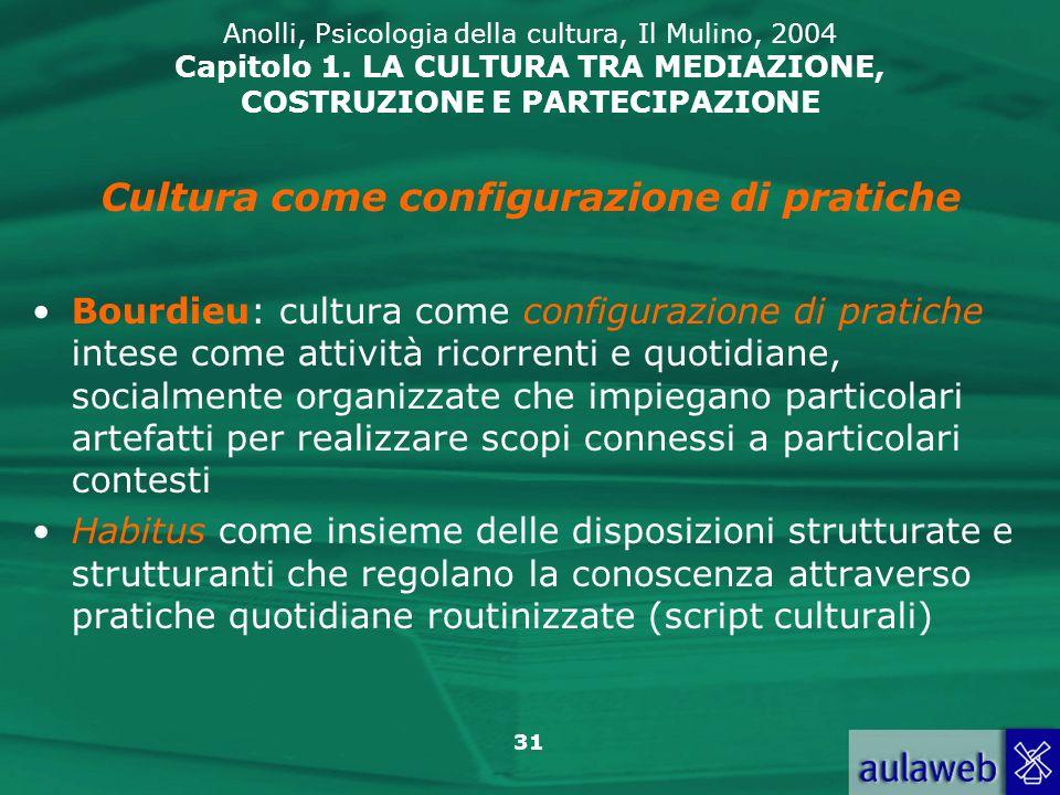 31 Anolli, Psicologia della cultura, Il Mulino, 2004 Capitolo 1. LA CULTURA TRA MEDIAZIONE, COSTRUZIONE E PARTECIPAZIONE Bourdieu: cultura come config