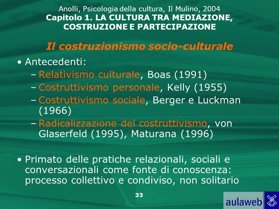 33 Anolli, Psicologia della cultura, Il Mulino, 2004 Capitolo 1. LA CULTURA TRA MEDIAZIONE, COSTRUZIONE E PARTECIPAZIONE Antecedenti: –Relativismo cul