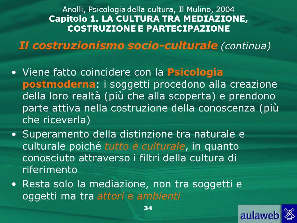 34 Anolli, Psicologia della cultura, Il Mulino, 2004 Capitolo 1. LA CULTURA TRA MEDIAZIONE, COSTRUZIONE E PARTECIPAZIONE Il costruzionismo socio-cultu