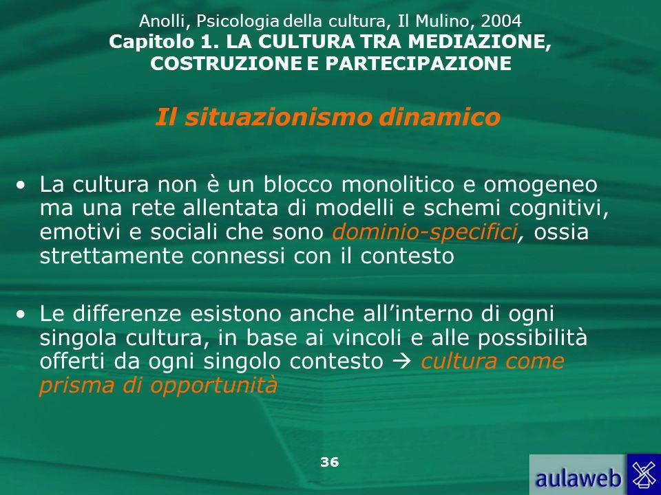 36 Anolli, Psicologia della cultura, Il Mulino, 2004 Capitolo 1. LA CULTURA TRA MEDIAZIONE, COSTRUZIONE E PARTECIPAZIONE La cultura non è un blocco mo