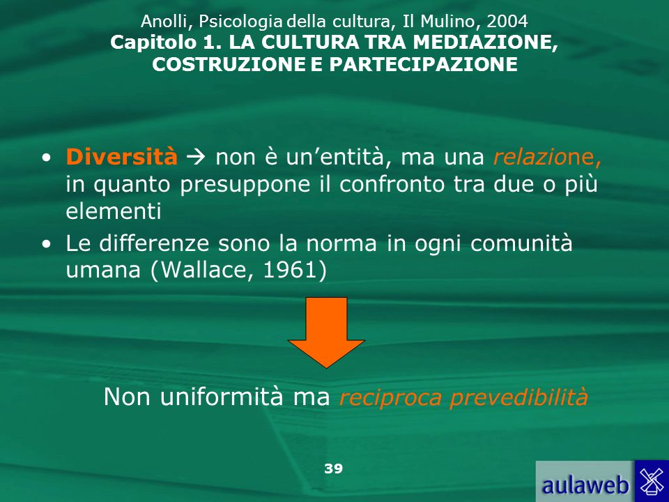 39 Anolli, Psicologia della cultura, Il Mulino, 2004 Capitolo 1. LA CULTURA TRA MEDIAZIONE, COSTRUZIONE E PARTECIPAZIONE Diversità non è unentità, ma