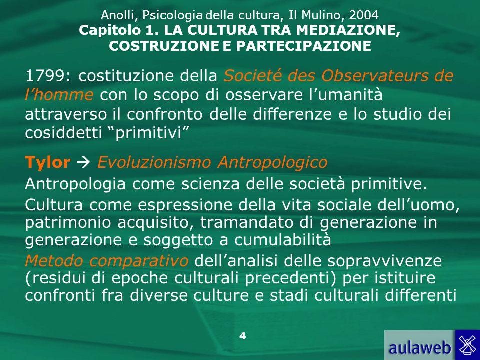 4 Anolli, Psicologia della cultura, Il Mulino, 2004 Capitolo 1. LA CULTURA TRA MEDIAZIONE, COSTRUZIONE E PARTECIPAZIONE Tylor Evoluzionismo Antropolog