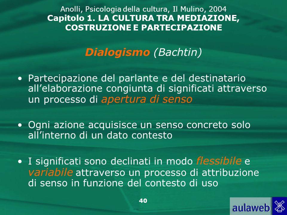 40 Anolli, Psicologia della cultura, Il Mulino, 2004 Capitolo 1. LA CULTURA TRA MEDIAZIONE, COSTRUZIONE E PARTECIPAZIONE Partecipazione del parlante e