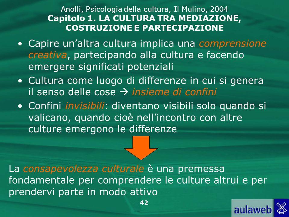 42 Anolli, Psicologia della cultura, Il Mulino, 2004 Capitolo 1. LA CULTURA TRA MEDIAZIONE, COSTRUZIONE E PARTECIPAZIONE Capire unaltra cultura implic