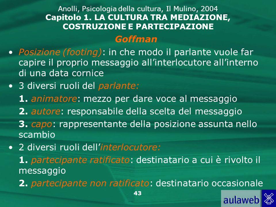 43 Anolli, Psicologia della cultura, Il Mulino, 2004 Capitolo 1. LA CULTURA TRA MEDIAZIONE, COSTRUZIONE E PARTECIPAZIONE Goffman Posizione (footing):