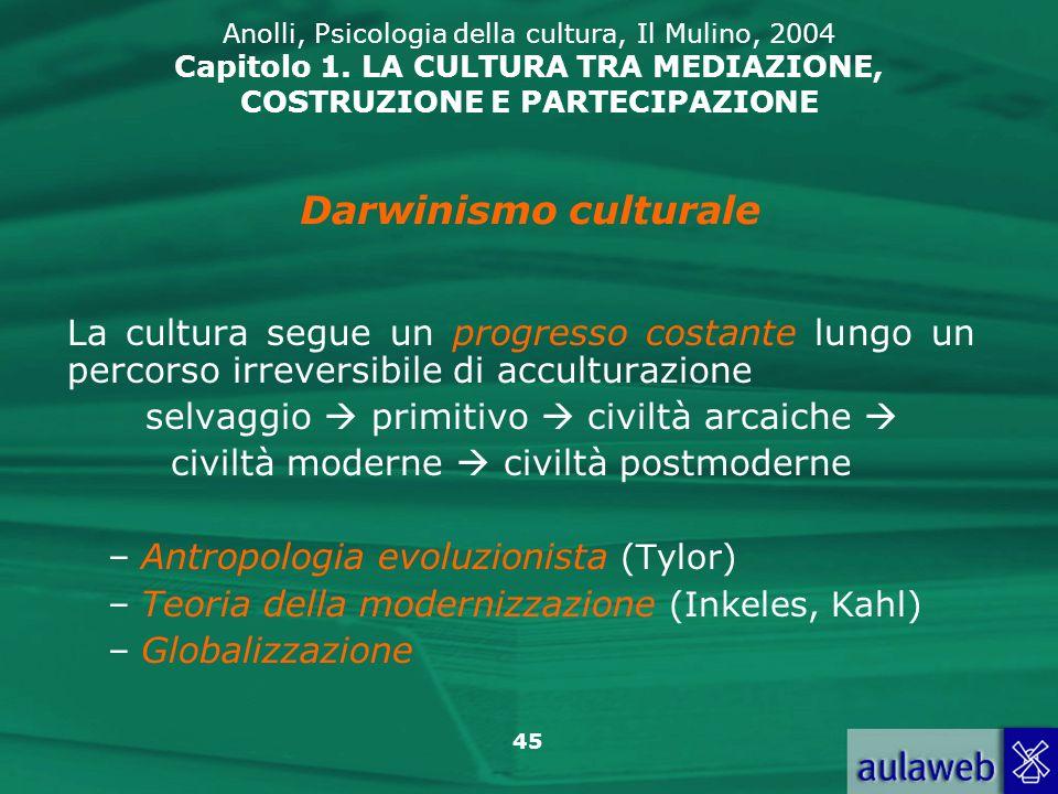 45 Anolli, Psicologia della cultura, Il Mulino, 2004 Capitolo 1. LA CULTURA TRA MEDIAZIONE, COSTRUZIONE E PARTECIPAZIONE La cultura segue un progresso