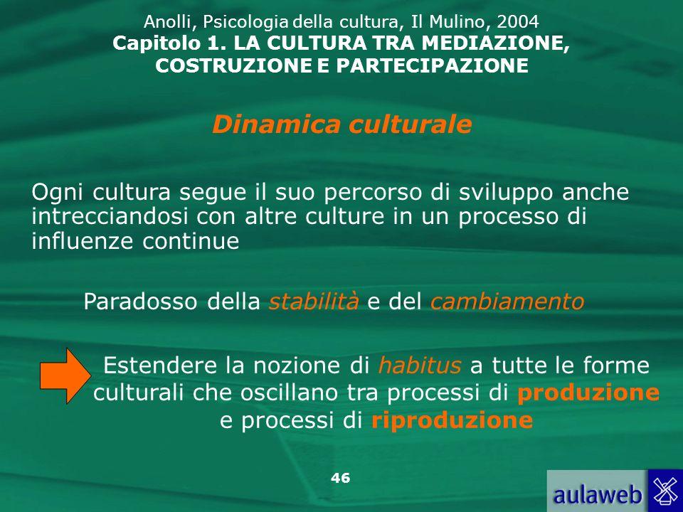 46 Anolli, Psicologia della cultura, Il Mulino, 2004 Capitolo 1. LA CULTURA TRA MEDIAZIONE, COSTRUZIONE E PARTECIPAZIONE Ogni cultura segue il suo per