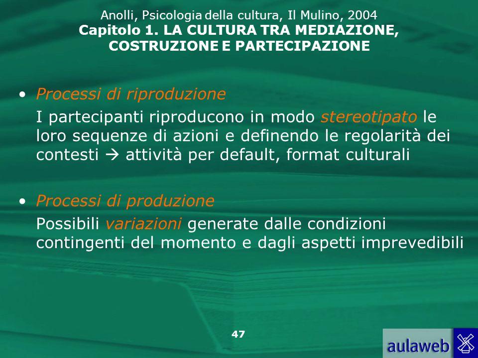 47 Anolli, Psicologia della cultura, Il Mulino, 2004 Capitolo 1. LA CULTURA TRA MEDIAZIONE, COSTRUZIONE E PARTECIPAZIONE Processi di riproduzione I pa