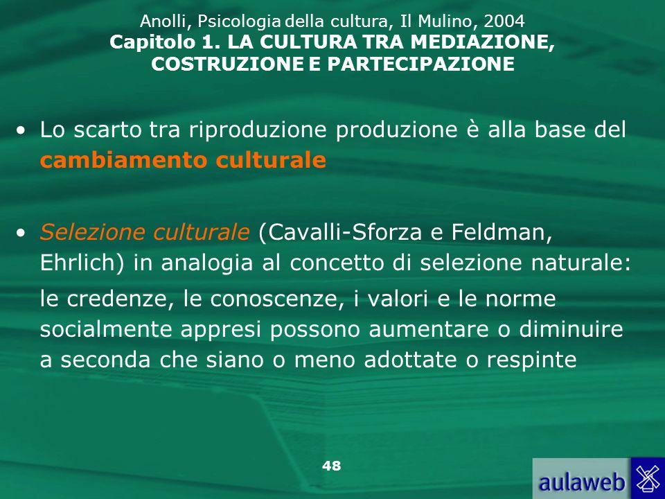 48 Anolli, Psicologia della cultura, Il Mulino, 2004 Capitolo 1.