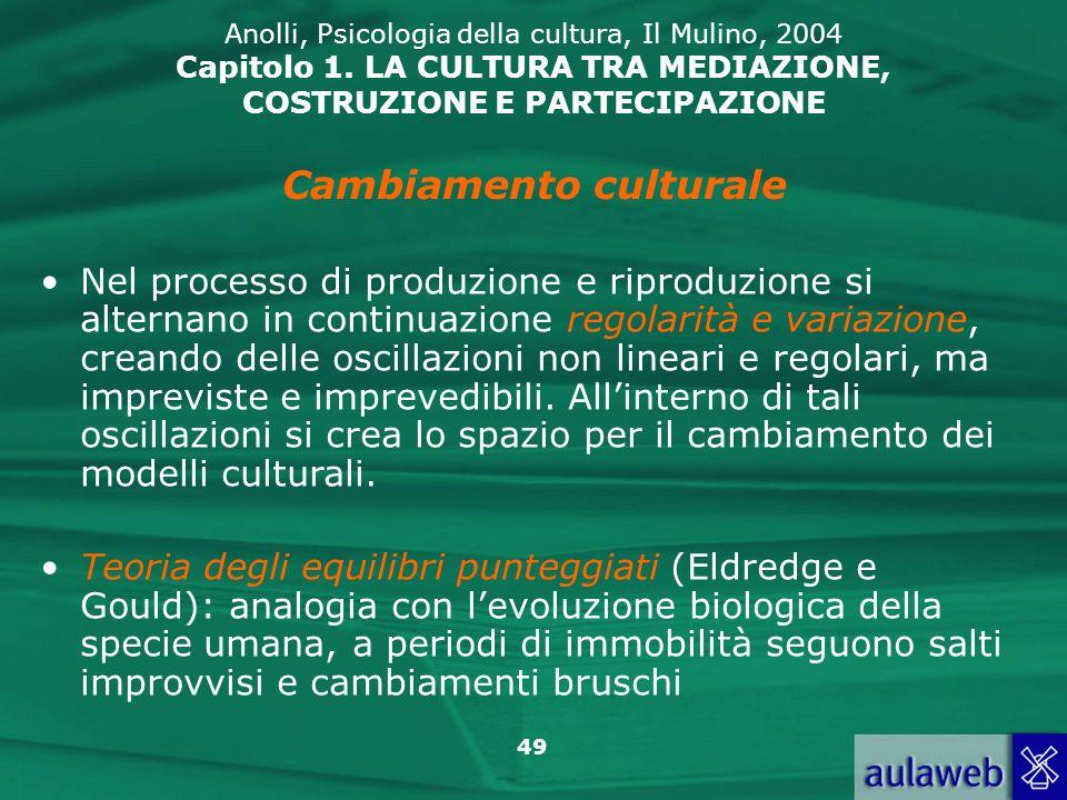 49 Anolli, Psicologia della cultura, Il Mulino, 2004 Capitolo 1. LA CULTURA TRA MEDIAZIONE, COSTRUZIONE E PARTECIPAZIONE Nel processo di produzione e