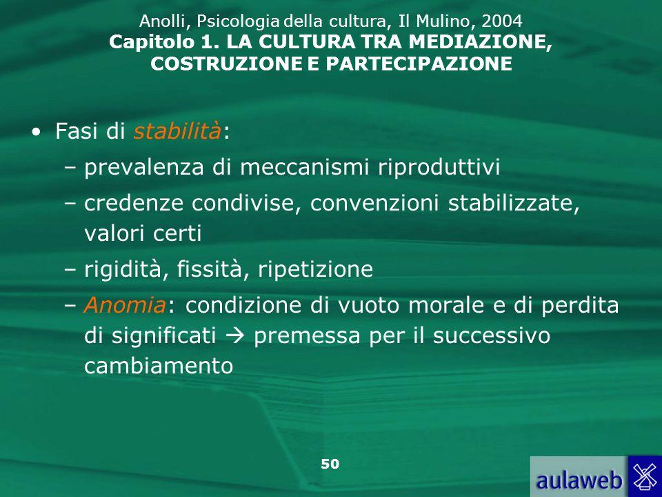 50 Anolli, Psicologia della cultura, Il Mulino, 2004 Capitolo 1. LA CULTURA TRA MEDIAZIONE, COSTRUZIONE E PARTECIPAZIONE Fasi di stabilità: –prevalenz
