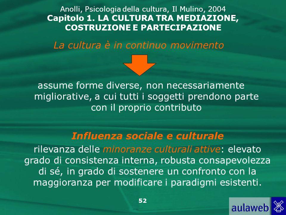 52 Anolli, Psicologia della cultura, Il Mulino, 2004 Capitolo 1. LA CULTURA TRA MEDIAZIONE, COSTRUZIONE E PARTECIPAZIONE assume forme diverse, non nec