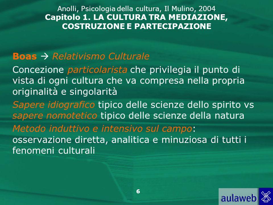 6 Anolli, Psicologia della cultura, Il Mulino, 2004 Capitolo 1. LA CULTURA TRA MEDIAZIONE, COSTRUZIONE E PARTECIPAZIONE Boas Relativismo Culturale Con