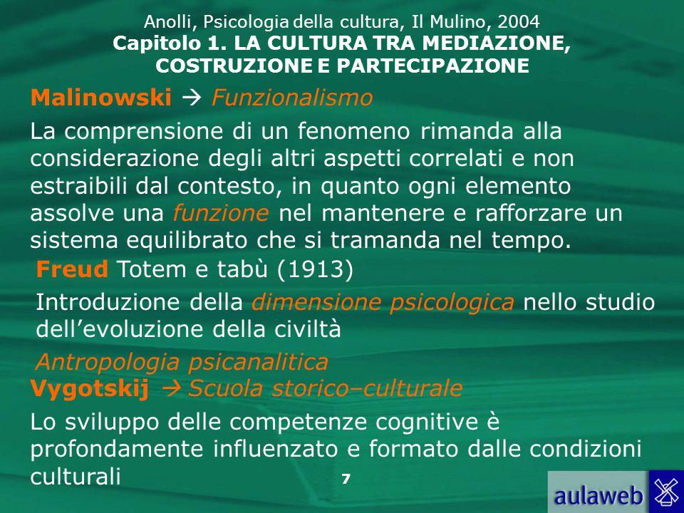 7 Anolli, Psicologia della cultura, Il Mulino, 2004 Capitolo 1. LA CULTURA TRA MEDIAZIONE, COSTRUZIONE E PARTECIPAZIONE Malinowski Funzionalismo La co