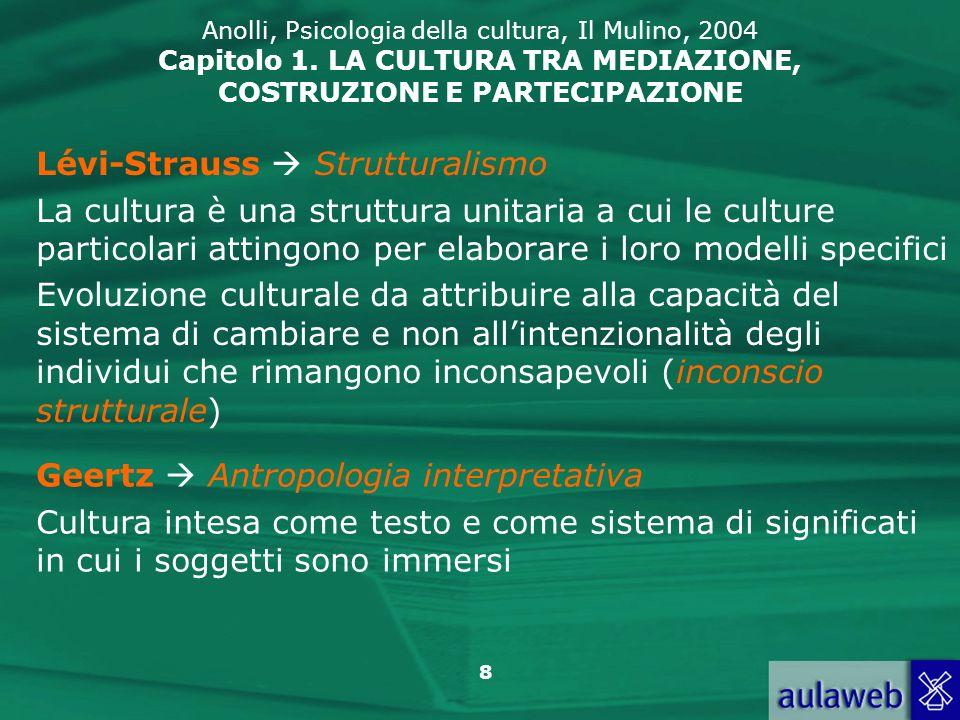 8 Anolli, Psicologia della cultura, Il Mulino, 2004 Capitolo 1. LA CULTURA TRA MEDIAZIONE, COSTRUZIONE E PARTECIPAZIONE Lévi-Strauss Strutturalismo La