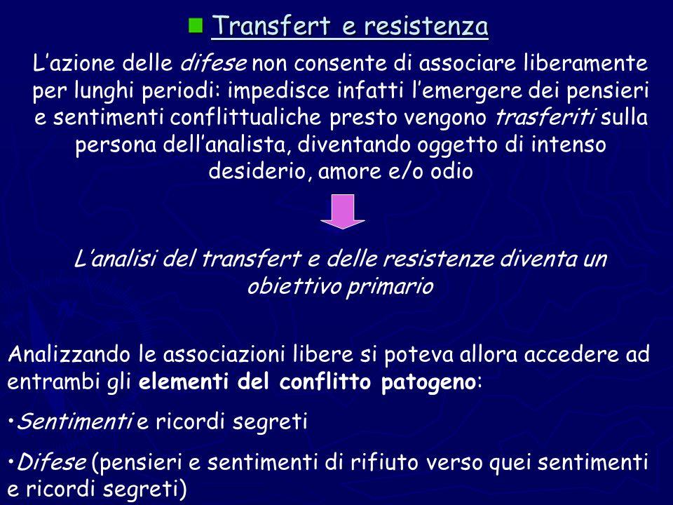Transfert e resistenza Transfert e resistenza Lazione delle difese non consente di associare liberamente per lunghi periodi: impedisce infatti lemerge