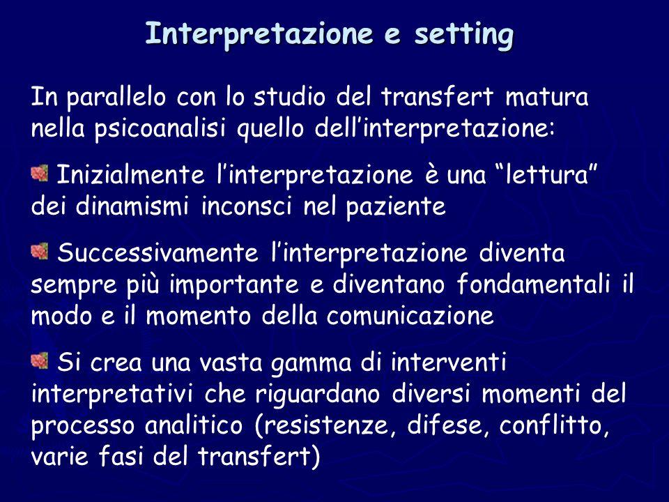 Interpretazione e setting In parallelo con lo studio del transfert matura nella psicoanalisi quello dellinterpretazione: Inizialmente linterpretazione