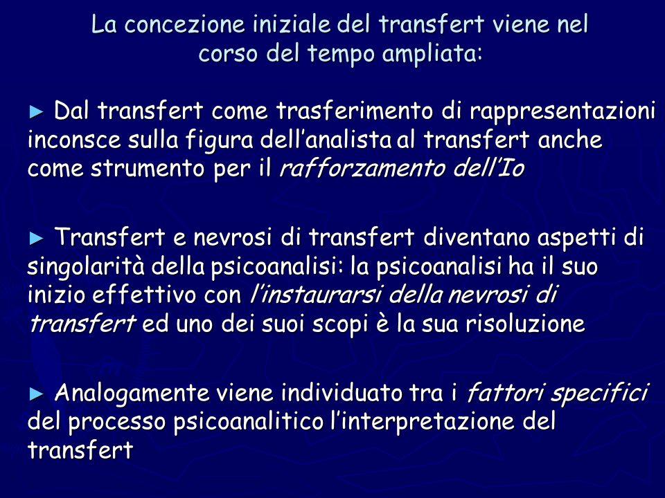 La concezione iniziale del transfert viene nel corso del tempo ampliata: Dal transfert come trasferimento di rappresentazioni inconsce sulla figura de